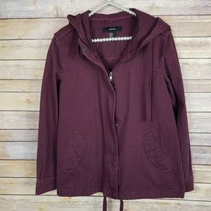 Forever 21 oversized maroon utility jacket coat